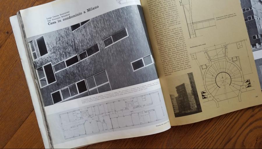 Casabella n. 217 anno 1957 pagg. 48-49 - edificio di Via Nievo 28/a Milano - progettisti Luigi caccia Dominioni e Mario Forlano