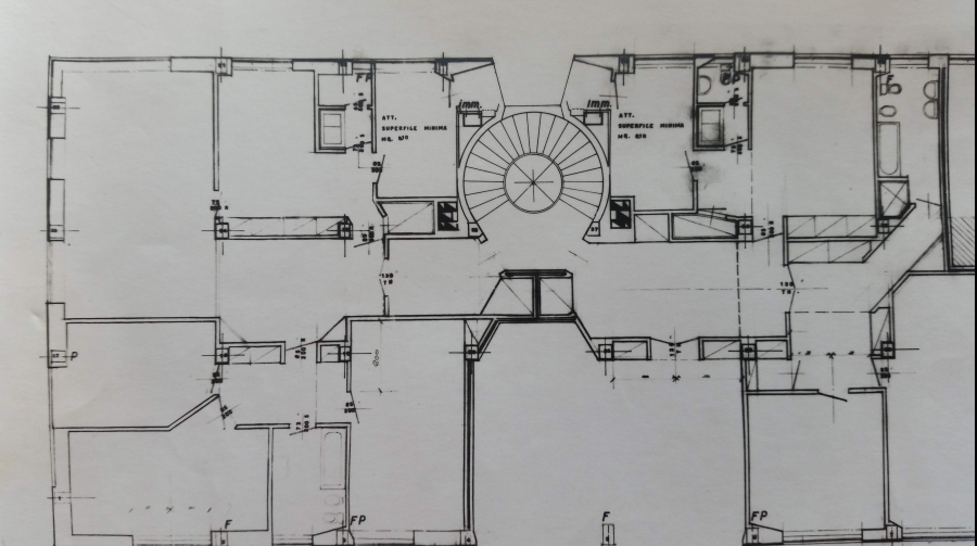 """""""Pianta piano settimo edificio via Nievo 28/a Milano - Luigi Caccia Dominioni - Mario Forlano-poeticadelleregole"""""""